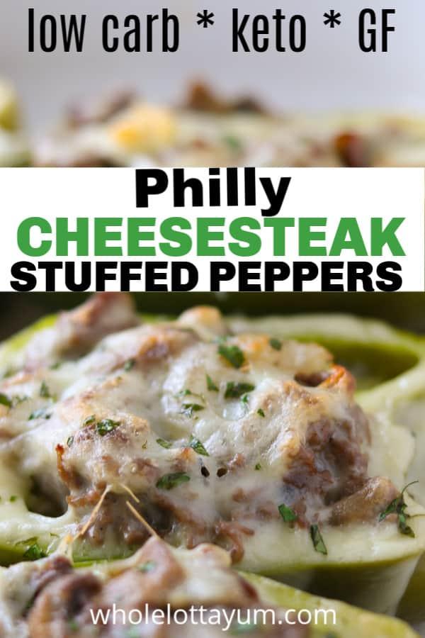 steak stuffed peppers pin for Pinterest