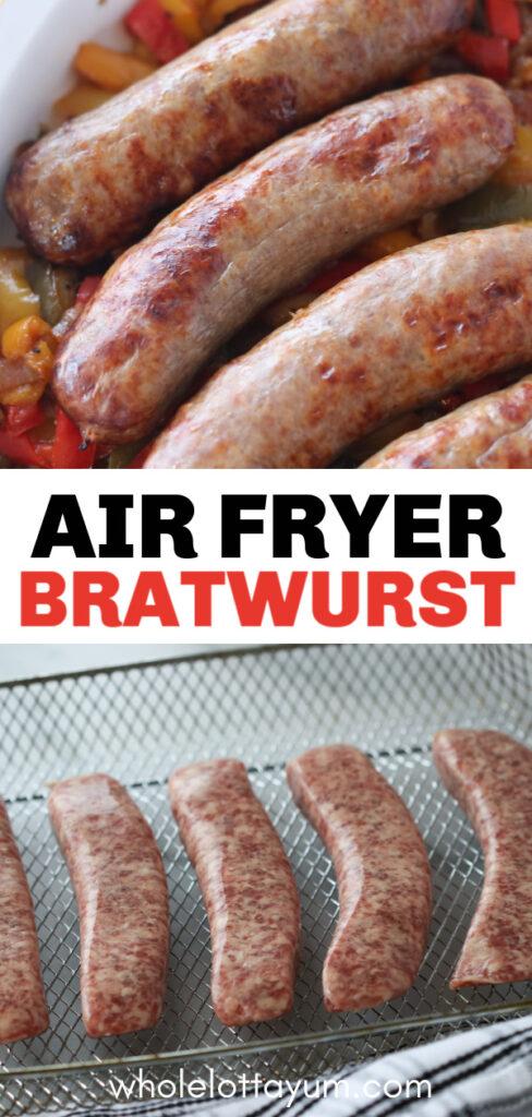 easy air fryer bratwurst recipe Pinterest pin