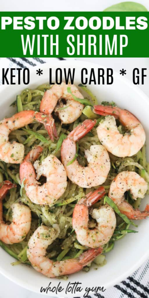 zucchini noodles keto with shrimp in a bowl