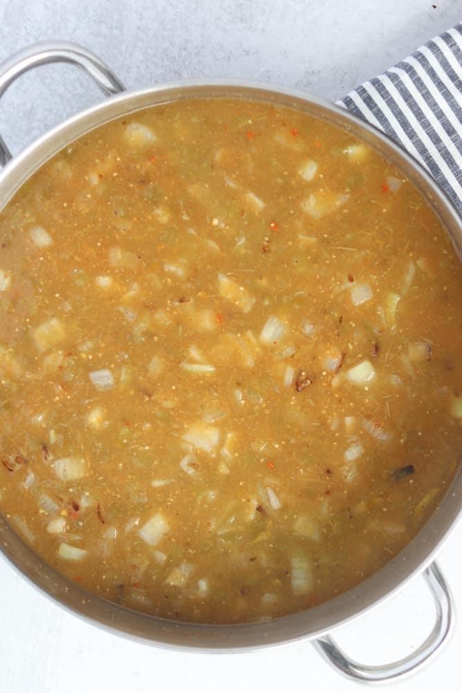 add the green chilis for the keto white chicken chili