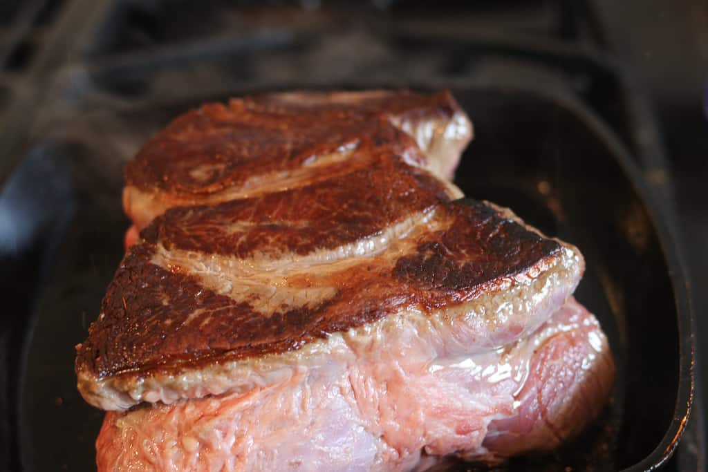 sear the meat for the mississippi pot roast recipe