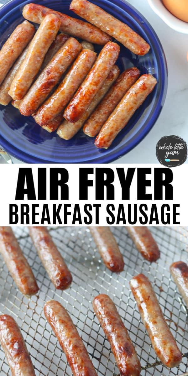 air fried sausage pin for Pinterest