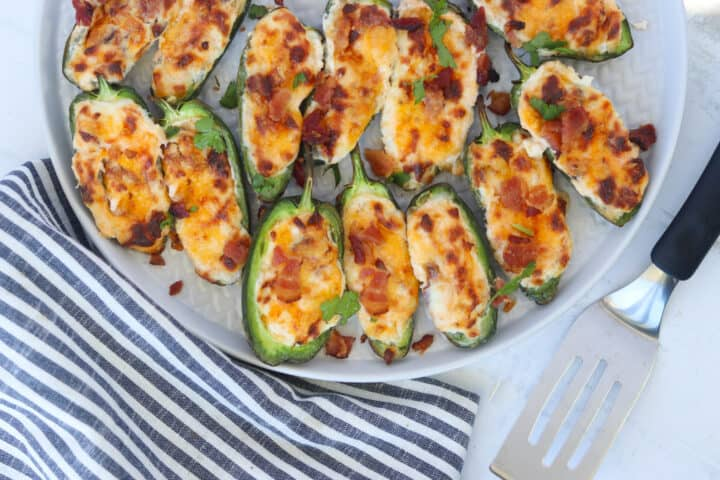 cream cheese stuffed jalapeno poppers recipe on a plate