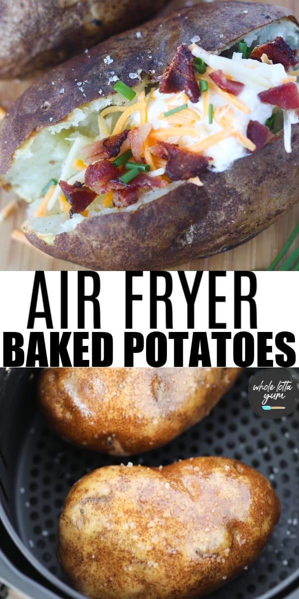 baked potato in air fryer oven pin for Pinterest